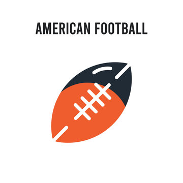 American football vector icon on white background. Red and black colored American football icon. Simple element illustration sign symbol EPS