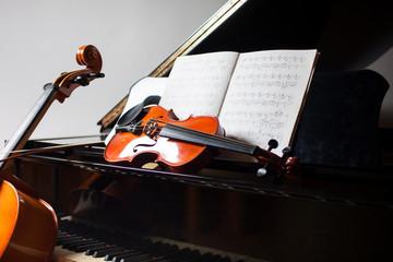 Classical music concept: cello, violin, piano and a score Wall mural