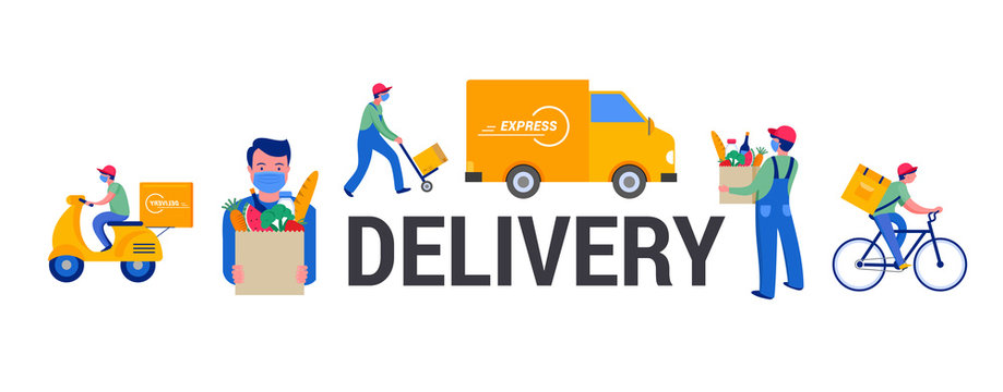 Safe online delivery during the coronavirus pandemic - online order tracking, delivery door to door, home and office. Warehouse, truck, drone, scooter and bicycle courier, delivery man in respiratory