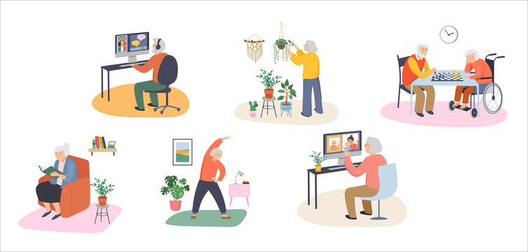 Elderly, old people, senior people at home, playing chess, chatting on computer with grandchildren, reading books, working out, learning languages. Vector illustration, cartoon set