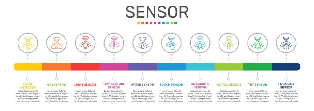 Sensor Infographics vector design. Timeline concept include flame detector, gas sensor, light sensor icons. Can be used for report, presentation, diagram, web design