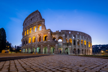 Printed kitchen splashbacks Rome ROMA, ITALY – 29 March 2020: Sunset, view of Coliseum. Nobody for coronavirus pandemic, Italy in lockdown