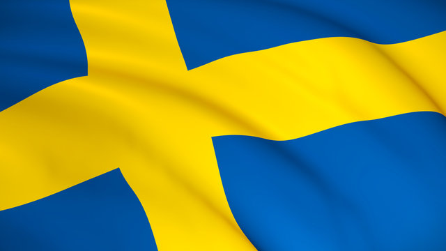 The national flag of Sweden (Swedish flag) - waving background illustration. Highly detailed realistic 3D rendering