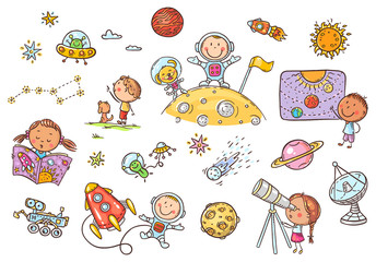 Wall Mural - Cartoon space and astronauts set, vector cliparts for kids
