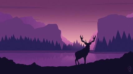 Canvas Prints Violet ночь лес вектор