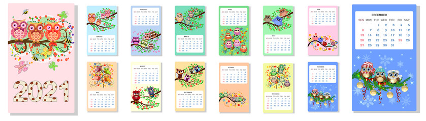 Calendar 2021. Cute owls and birds for every month.