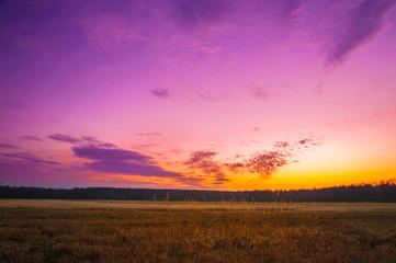 krajobraz w promieniach zachodzącego słoęca