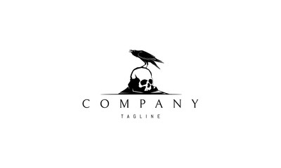 Vector logo on which an abstract image of a raven sitting on a skull.