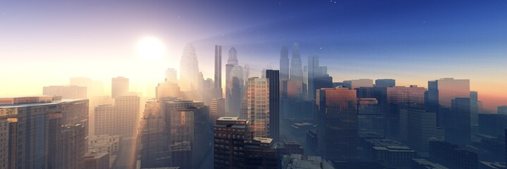 Modern city at sunrise, panorama of skyscrapers in the sunshine, modern high-rise buildings against the sky with the sun, 3D rendering Fototapete