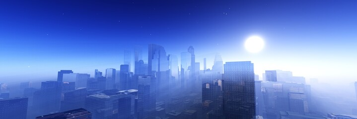 Wall Mural - Modern city at sunrise, panorama of skyscrapers in the sunshine, modern high-rise buildings against the sky with the sun, 3D rendering