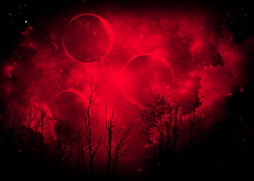 Strange Red cloud with planets with trees in foreground