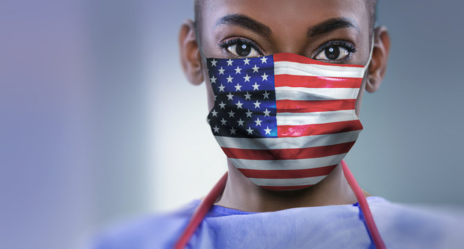 USA - Coronavirus surgical mask doctor wearing face protective mask against corona virus banner panoramic medical professional preventive gear.