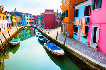 Poster Venice Colorful houses on the canal in Burano island, Venice, Italy. Famous travel destination