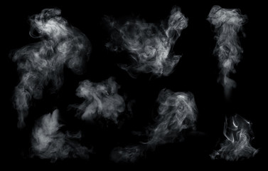 Wall Murals Smoke Fog or smoke set isolated on black background. White cloudiness, mist or smog background.