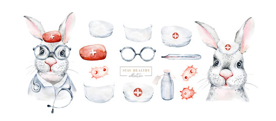 Rabbit Animal cute doctor watercolor hare kids illustration isolated on white background. Medical children design. Infection protection epidemic mask. medic clinic