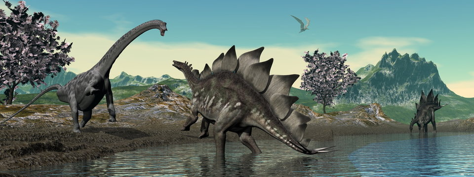 Dinosaur scenery with brachiosaurus and stegosaurus by day - 3D render