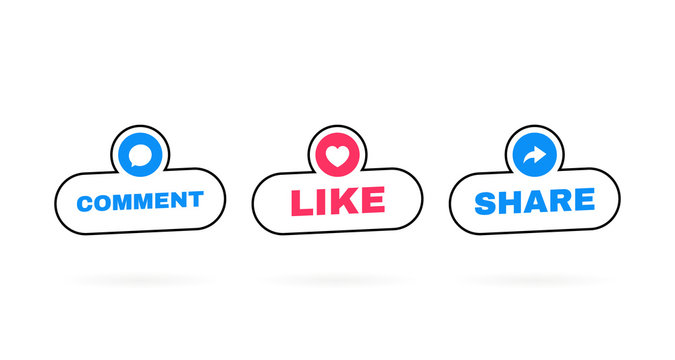 Like, comment and share icon set on a white background. Modern flat style vector illustration