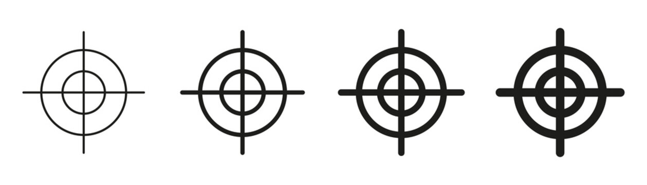 Focus target vector isolated icons on white background. Target goal icon target focus arrow marketing aim.