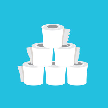Stack of toilet paper isolated on blue background. Deficit of toilet paper concept illustration.Self isolation concept