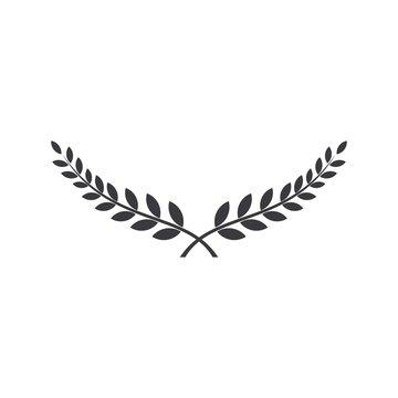 Laurel wreath vector award branch victory icon.