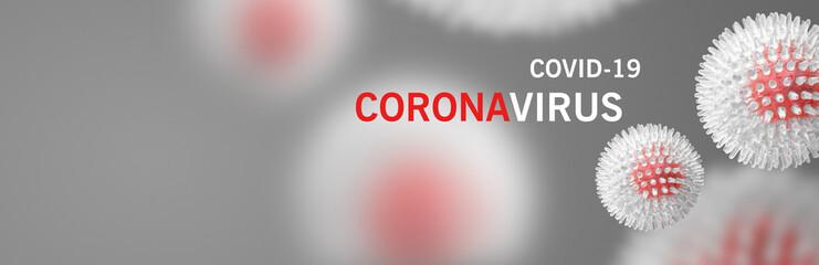 Image of flu COVID-19 virus cell. Coronavirus Covid 19 outbreak influenza background. Wall mural