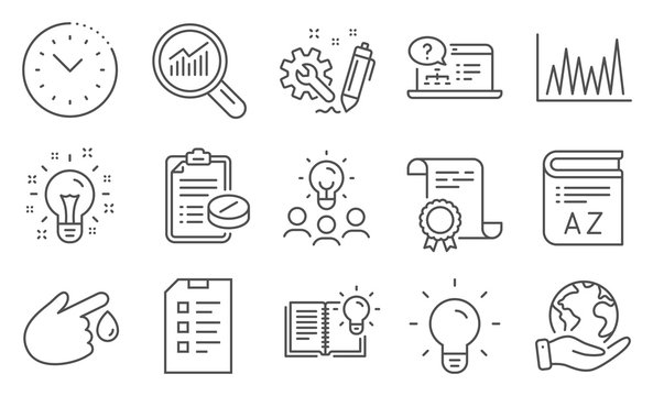 Set of Science icons, such as Checklist, Medical prescription. Diploma, ideas, save planet. Data analysis, Product knowledge, Time management. Engineering, Light bulb, Line graph. Vector