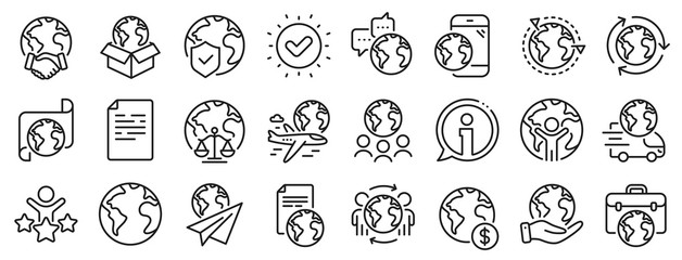 Global law, translate language, Outsource business. World business line icons. International organization, financial transactions, world map icons. Delivery service, global outsource. Vector