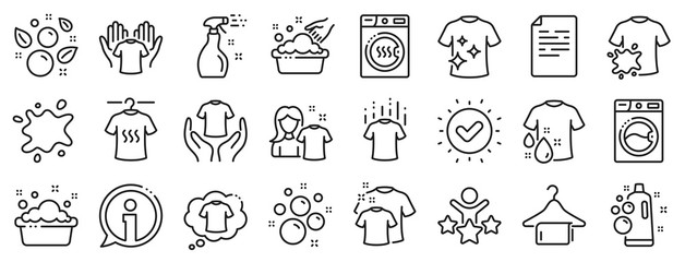 Obraz Dryer, Washing machine and dirt shirt. Laundry line icons. Laundromat, hand washing, soap bubbles in basin icons. Dry t-shirt, laundry service, dirty smudge spot. Clean clothes. Vector - fototapety do salonu