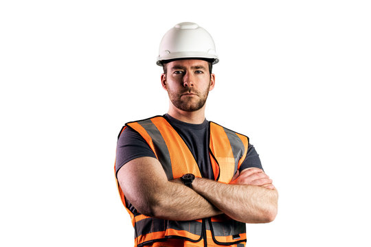 Construction Worker with Arms Crossed Looking Ahead