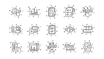 Opinion, Customer satisfaction and Feedback results. Survey or Report line icons. Testing linear icon set. Geometric elements. Quality signs set. Vector