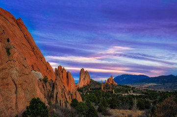 Printed roller blinds Dark blue Garden of the Gods sunset