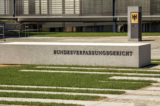 Karlsruhe, Germany - July 4, 2019: Building of Federal Constitutional Court in Germany called 'Bundesverfassungsgericht'
