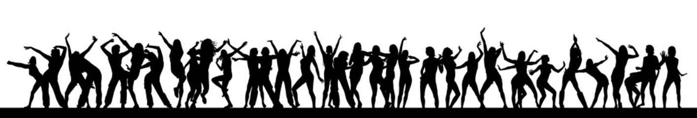 Silhouettes of dancing girls. Vector Fototapete