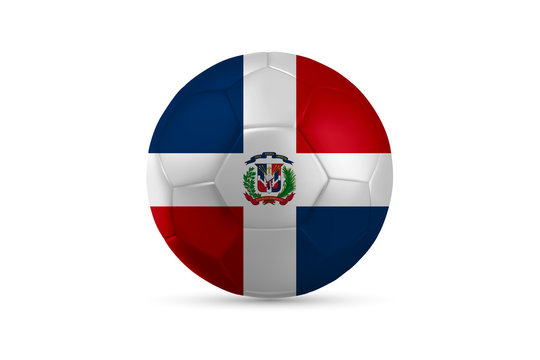 Bandera República Dominicana País Círculo en Pelota Balón Futbol Soccer Balompié