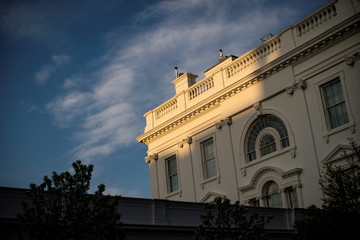 Light shines on the White House in Washington