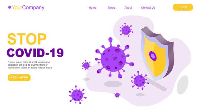 2019-nCoV virus strain with stop sign quarantine from Wuhan novel coronavirus. pandemic coronavirus outbreak in china. with shield covid-19 negative blood test. isometric vector illustration