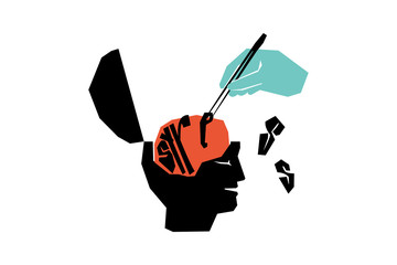 Obraz The concept of psychological assistance. Relieve stress with the help of a specialist. Minimalistic surreal illustration. - fototapety do salonu