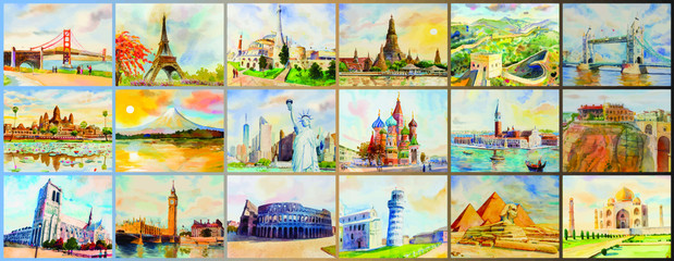 Wall Mural - Travel Famous landmark in the world of Europe, Asia and America.