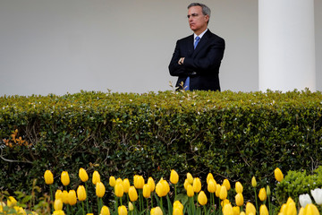 White House Counsel Pat Cipollone watches during a news conference in the Rose Garden of the White House
