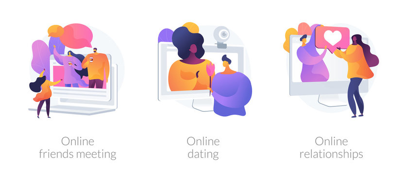 Friendship and communication during covid-2019 self-isolation icons set. Online friends meeting, online dating and relationship, self-isolation metaphor. Vector isolated concept metaphor illustrations