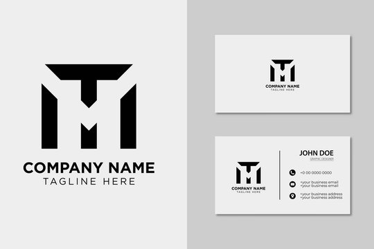 Creative Professional Letter MT TM Logo with business card