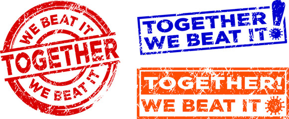 Together we beat it stamps. Quarantine motivational stamps. Vector in grunge texture.