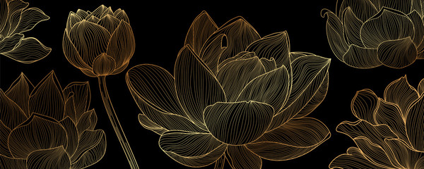 Golden lotus line arts on  dark background, Luxury gold wallpaper design for prints, banner, fabric, poster, cover, digital arts vector illustration.