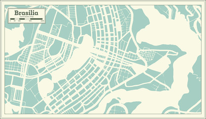 Brasilia Brazil City Map in Retro Style. Outline Map. Wall mural