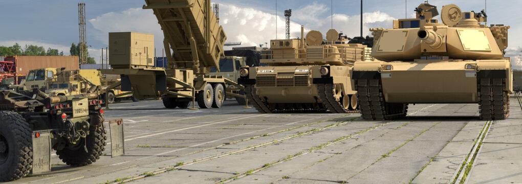 American military equipment in a European port