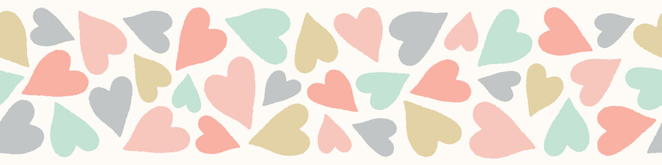 Custom vertical slats child's with your photo Heart pattern banner. Cute vector border design in pastel colours .