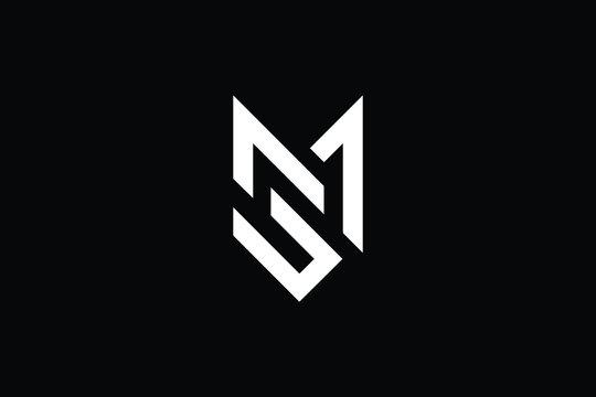 Minimal elegant monogram art logo. Outstanding professional trendy awesome artistic MS SM initial based Alphabet icon logo. Premium Business logo White color on black background