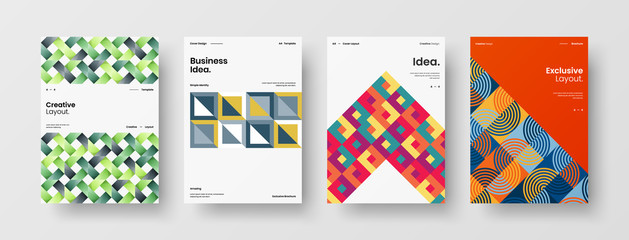 Business presentation vector A4 vertical orientation front page mock up set. Corporate report cover abstract geometric illustration design layout bundle. Company identity brochure template collection.