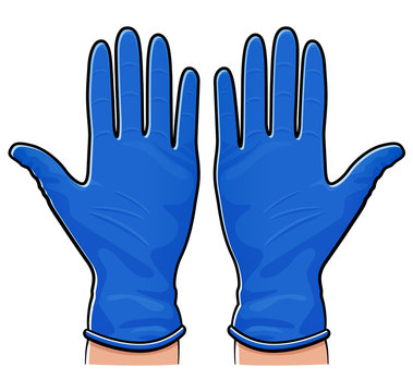 Vector rubber gloves isolated design