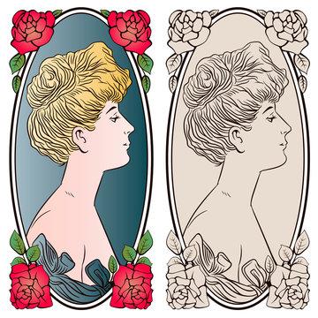Portrait girl in art-nouveau style. Stock illustration.